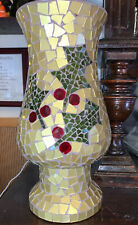Vintage (80's ?) Heavy Glass Mosaic Holiday Hurricane Vase