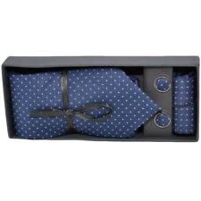 Set cravatta pochette e gemelli in cotone blu a pois confezione regalo per profe