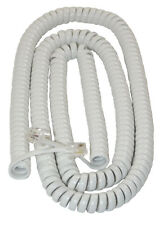 EXTRA LONG WHITE Coiled Curly Telephone Handset Cord (25 Foot / 7.6m) RJ10 4P4C