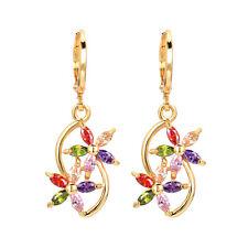 18K Gold Plated Women Double Colorful Flowers CZ  Zircon Dangle Drop Earrings