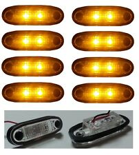 8X 24V LED ORANGE SIDE MARKER INDICATORS LIGHTS TRUCK TRAILER LORRY CHASSIS CAB