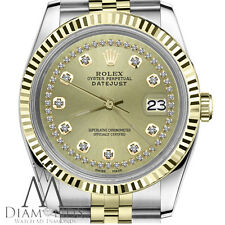 Rolex 31mm Datejust 2 Tone Champagne String Diamond Accent Dial & Fluted Bezel