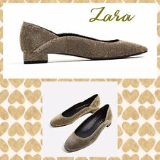 ZARA NWT  Women's Shoes  Gold  Glitter/Sparkle Flats Ballet Style Size 9