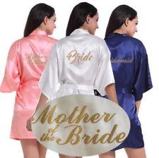 Satin White/Navy Blue/Pink Robe Bride Bridesmaid Wedding Gown Kimono Bathrobe