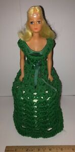 Vintage Handmade Crochet Toilet Paper Tissue Display Doll Holder Green