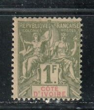 1892-1900 French colony stamps, Ivory Coast 1fr MH SC 17