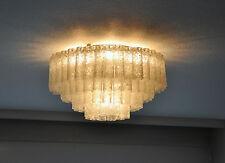 Doria Deckenlampe Lüster Eis Glas Ice Glas Kronleuchter Glasröhren 4 Stufig