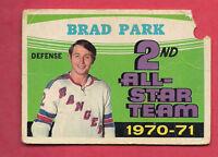1971-72 OPC  # 257 RANGERS BRAD PARK ALL STAR TEAM  CARD