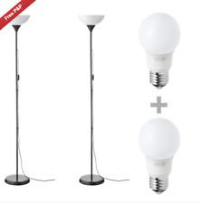 IKEA Floor Standing Reading Light Uplighter Black 2 Lamp & Bulbs x2 BRAND NEW