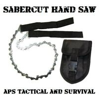 SaberCut Chainsaw Pro Survival Cutting Tool Camping Hunting Compact Saw w Pouch