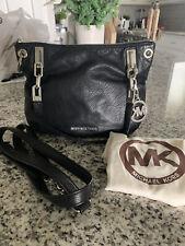 MICHAEL KORS Logo Charm Chain Shoulder Bag Black Leather