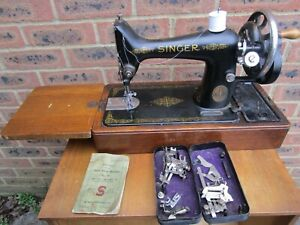 Vintage Singer Sewing Machine in Case with Instructions & Accessories  No 99