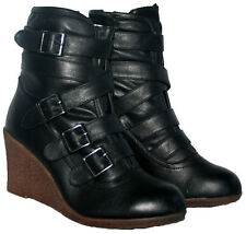 "LADIES BLACK 3"" WEDGE HEEL ANKLE BOOT WITH STRAP TRIM AND SIDE ZIP IN SIZE 6"