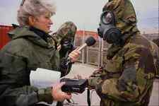 730037 BBC Radio Journalist Interviewing During Chemical Gas Alert A4 Photo Prin