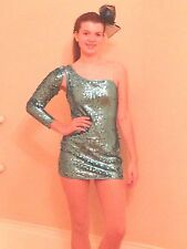 Blue Sequined Dress Adult Small  Curtain Call Pageant/ Dance/Drill Costume