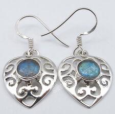 """.925 Sterling Silver BLUE FIRE LABRADORITE GIRLS' CELTIC Cast Earrings 1.3"""""""