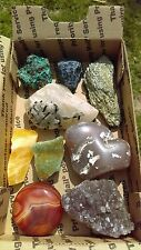 Lot #27 Of  rocks minerals. tourmaline in quartz, amethyst, agate, calcite, ++