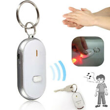 1X LED Anti-Lost Key Finder Locator Keychain Whistle Sound Control Keyring White