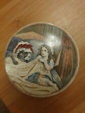 More details for antique prattware pot lid little red riding hood - rare