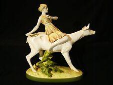 "Artist Signed ""LA"" Very Large Royal Dux Chechoslovakia Figurine Girl on Deer 16"""