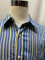 Chaps Mens Button Down Blue and Yellow Striped Long Sleeve Shirt Size L