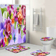Pink Rose Flower with Leaves Customized Bathroom Shower Curtain Toilet Rug Decor