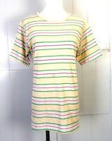 vtg 60s 70s Cruel World Colorful Striped T-Shirt Surf Skate single stitch SZ L