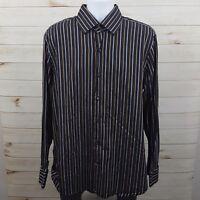 Banana Republic Black Striped French Cuffed Men's L/S Dress Button Shirt Sz XL