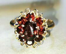 Retro Garnet dress Ring, Hallmark 9ct gold - Free Insured shipping #Le