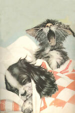 Cavalier King Charles Spaniel Pup Dog & Kitten 1938 LARGE New Blank Note Cards