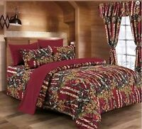 The Woods Queen Burgundy Camo 7 Piece Bedding Set Comforter and Sheets