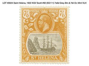 0024: Saint Helena, 1922 KGV Scott #92 (SG111) 7s6d Grey-Brn & Yel-Or, Mint VLH