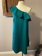 Ann Taylor LOFT One Shoulder Emerald Green Silk Dress 14 16 XL NWT