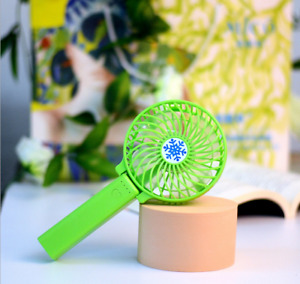 Portable Rechargeable Fan Mini Handy Fan Pocket Size Air Cooler with USB, Green