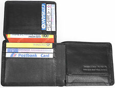 aparte kleine Leder Geldbörse schwarz persofähig! 10 Karten Geheimfach 11x 8,5cm