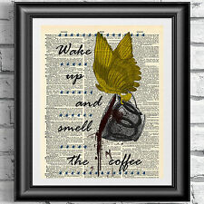 Art print on dizionario libro pagina svegliarsi e odore del caffè Vintage Wall Art