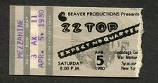 1980 Zz Top Concert Ticket Stub Expect No Quarter Syracuse Ny Cheap Sunglasses