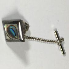 Vintage Silver Abalone Tie Tack Pin 925 Mexico