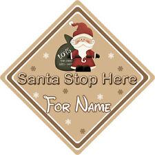 Personalizzata Babbo Natale Stop Qui Firmare finestra ~ Babbo Natale e Giocattoli-marrone