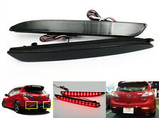 Mazda3 2010+ Black Smoked Lens LED Bumper Reflector Tail Brake Light MAZDASPEED3
