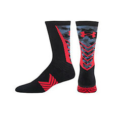 Under Armour Mens Undeniable Crew Socks, Black/Red, Medium Sale
