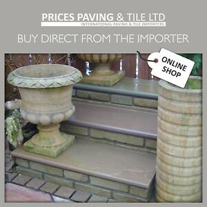 Indian Sandstone Bullnosed Step Or Wall coping 1000x350x30mm RAJ GREEN