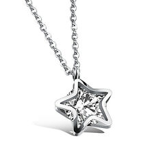 Star design Crystals Jewelry 18'' Women Necklace Pendant stainless steel Shiny
