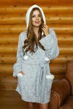 PJ Salvage Womens Cozy Robe Heather Grey pom pom medium new