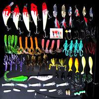 100pcs/Lot Fishing Lures Crankbaits Hooks Minnow Bass Baits Tackle + Box Set