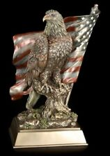 Eagle Figurine Sits Before Us Flag - USA Decoration Figure Souvenir America -