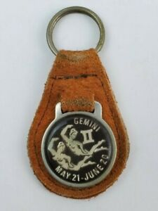 Vintage Gemini II leather keychain keyring metal back Brown w Black Face