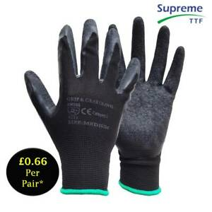 24 Pairs Black Latex Coated Multipurpose Builders Construction GardenWork Gloves