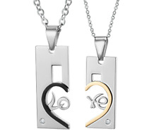 w/heart puzzle Pendant + free chain Couple Necklaces stainless steel square card