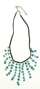 "Brown Suede Turquoise Stone Dangle Leather Necklace 16"" - 18"""
